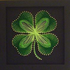 art patterns, craft, idea, four leaf clover, nail arts, string art, irish, diy, guardian angels