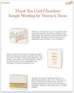 Thank You Card Cheatsheet for Teens and $150 Minted Giveaway
