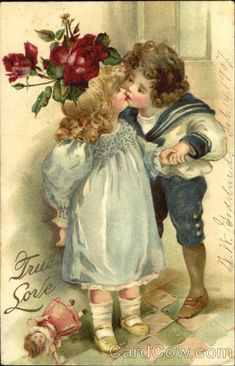 Little Girl and Boy Kissing