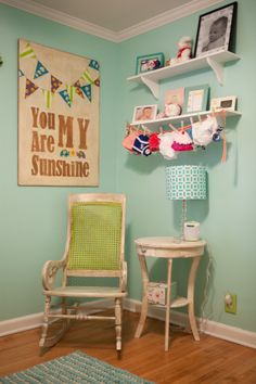 Refinished Rocking Chair with Antique Look in Nursery - #nurserydesign