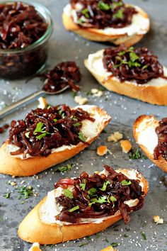 Red Onion Chutney & goat cheese crostini!!! did a recipe of this over a year ago and lost it... glad to have this one.