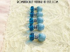 Lagoon Blue Charm Set Beaded Journals Tags by RomanticallyVintage, $4.50