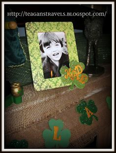 St. Patrick's decor using $1 wooden frame from Michael's.