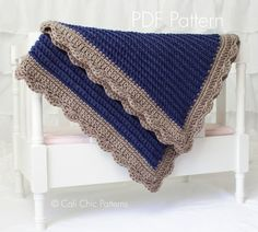 Crochet Blanket PATTERN 24 - Sweet Dreams - Crochet Baby Blanket PATTERN 24 - Denim Blue- Instant Download PDF