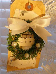 music, christma gift, diy christmas gift tags, vintage ornaments, handmade gifts