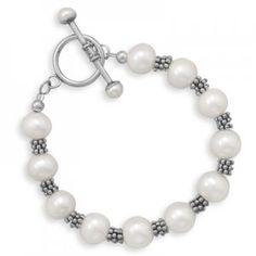 Pearl and Bali Bead Toggle Bracelet