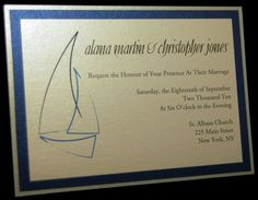 Nautical Ship Layered Wedding Invitation in Silver by @Kim, $3.75