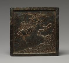 Ink tablet with peach tree, Ming dynasty (1368–1644), dated 1576  China  Black ink