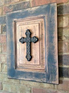 Salvaged Rustic Cross Picture Upscaled from Old Cabinet Door. $30.00, via Etsy.