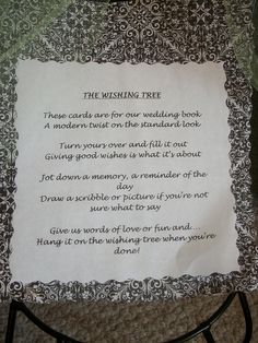 Wedding Money Tree Poem