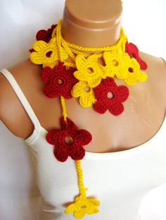 Yellow Red crochet Flower Lariat Scarf Fashion by WomanStyleStore, $25.00