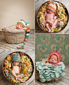 Baby Photos--I'm putting my baby in a barrel full of scrap yarn. It's decided.