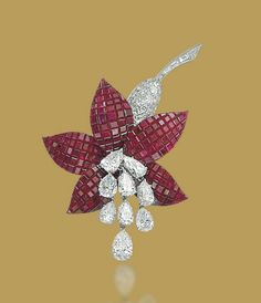 A Mystery-Set Ruby and Diamond Fuchsia Brooch, By Van Cleef & Arpels