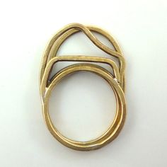3 Stacking Rings: Minimal, architectural, elegant every day rings in bronze.