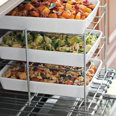 When oven space is at a premium, this stacked stainless-steel rack saves the day. Place it on one half of an oven rack and bake several side dishes while the main fare cooks alongside. It also folds flat for convenient storage.