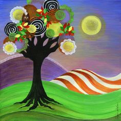 Twilight Moon Tree, Fall, Owls, Purple, Orange, Yellow, Green, Fields, Landscape, Stripes, Colorful, Home Decor, Autumn, Halloween. $24.00, via Etsy.