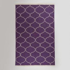 5' x 8' Purple Ivory Lattice Flat-Woven Wool Rug