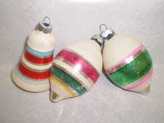 Vintage Christmas Ornaments ~ Shiny Brite Ornaments Painted Stripes and Coated with Mica * Circa, WW II 1940's