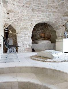 interior design, castl, dream, stone walls, nook, hous, stones, cave, bedroom