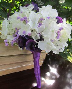 White Hydrangeas, Purple Sweet Peas and Lavender Wedding Bouquet