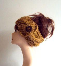 Mustard Yellow Knit Head Band Ear Warmer Cowl Neckwarmer Dreadlock Rasta Wide Cable Knit Headband Women Fashion Accessories Hair Accessories by GrahamsBazaar