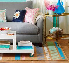 Put a little spring underfoot, and give an inexpensive sisal rug a fun update with paint: http://www.bhg.com/decorating/paint/projects/paint-projects-ideas-and-patterns/?socsrc=bhgpin051514paintedrug&page=7