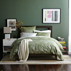 Green and white bedroom - hunter  green walls
