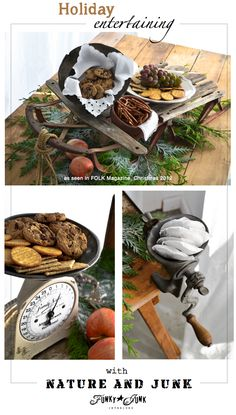 Holiday entertaining ideas with nature and junk! Unique ways to serve food via Funky Junk Interiors