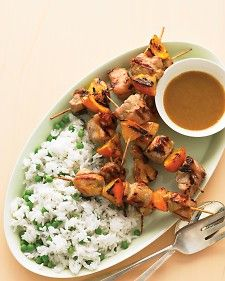 Orange Grilled Pork Kabobs - Lincoln might get on board with these...and the sauce...