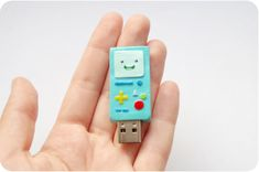BMO usb flash drive, Adventure time usb, 8 GB usb flash, mint computer gadget; with polymer clay, mayhaps?