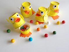 treat box, famili puppet, paper boxes diy, duck famili, paper cups