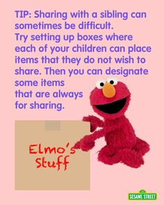 Children may have a hard time sharing with siblings. Parents, here's a Sesame Street tip to overcome this challenge. For more tips & resources: http://www.sesamestreet.org/challenges. #elmo #preschool