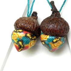Christmas Acorn Ornaments Flowers and Butterflies by LavaGifts, $10.50