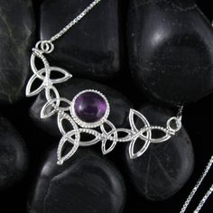Trinity Knot  Amethyst Gemstone Celtic Pendant Necklace by Camias