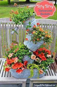 garden junk, cottag, flower planters, garden art, bucket