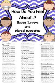 $ Do you need a way to quickly assess your students' interests, attitudes, and learning styles? Try these 10 easy to use questionnaires to get to know your students preferences right away. Students will enjoy completing these simple and cute surveys. You can use the information gathered to plan your instruction and gauge how students enjoy certain lessons and/or activities. Can be used a pre- and post-assessments for individual units.