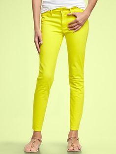 "Gap Jeans in Hot Yellow- LOVE as styled or dressed up with a 3/4 sleeve blazer and heels too! I think a looser fit is better if wearing casually and a little tighter if you are wearing with heels, baggy would make ""dressed up"" look ""sloppy""! My opinion for what it is worth :) Love price- $59"