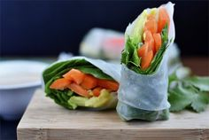 Super Power Spring Rolls with Almond Butter Dipping Sauce by Iowa Girl Eats