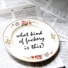 What kind of F ckery is this altered vintage plate by geekdetails, $22.00