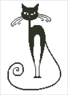 Black Cat Embroidery Picture - Instant Download Cross Stitch Embroidery Pattern
