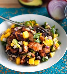 Salmon bowl with mango and avocado salsa