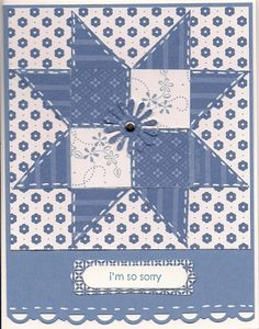 sweet handmade quilt card  ... white and blue ... star pieced design ... coordinating tiney prink papers ... .uv the die cut daisy in the center... Stampin' Up!
