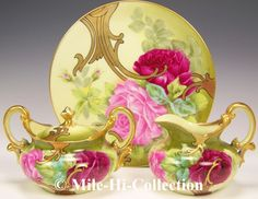 Limoges France Hand Painted Roses Plate Signed Roby