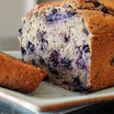 Greek Yogurt Blueberry Banana Bread