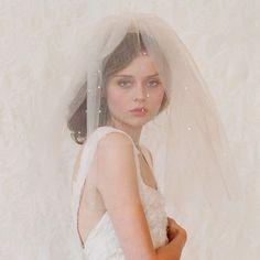 Bridal blusher wedding veil  Double layer teardrop veil by myrakim, $110.00