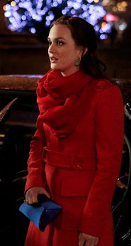 Blair in Red Valentino coat