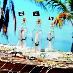Create a fun DIY #PirateParty Game with Shindigz Cork Bottles filled with a secret message or treasure map and topped with Shindigz Cupcake Pics, also on our Pinterest Board, matey!
