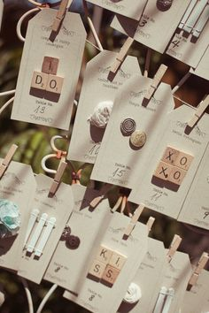 mini clothespins & luggage tags for escort cards