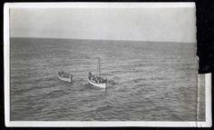 Titanic survivors approach the rescue ship, the Carpathia on April 15, 1912.