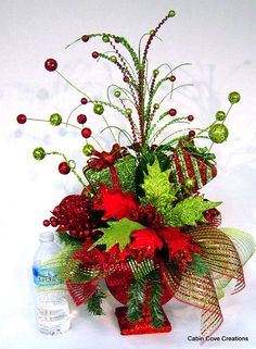 Christmas BlinG red lime Centerpiece Floral Arrangement in Compote footed Bowl have matching wreaths and garlands in my store design by Cabin Cove Creations christma bling, red lime, centerpiec floral, christma red, lime centerpiec